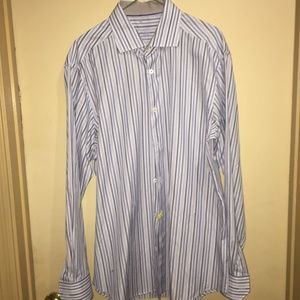 Bugatchi  Uomo Striped Dress Shirt SZ 16 34/35